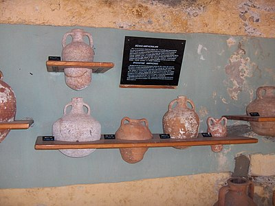 The museum's display of Byzantine amphorae styles