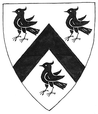 "William Denys - Armorial of John Twynyho of Cirencester (died 1485): Argent, a chevron between 3 lapwings sable. As seen on the ""Founder's Tomb"" in Fairford Church, Glos, in which his daughter Alice Twynyho rests next to her husband John Tame (died 1500), builder of the church"