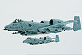 U.S. Air Force 1st Lt. Micha Stoddard, flying foreground, and Capt. Casey Peasley, both pilots with the 190th Fighter Squadron, Idaho Air National Guard, fly A-10 Thunderbolt II aircraft in formation before 140326-Z-AY311-046.jpg