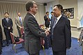 U.S. Defense Secretary Ash Carter greets Chinese Gen. Fan Changlong, vice chairman of China's Central Military Commission, as they prepare to sit down for a dinner at the Pentagon June 11, 2015 150611-D-NI589-024c.jpg