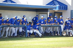 UC Santa Barbara Gauchos baseball - UCSB baseball team in the home dugout, March 2010.