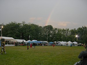 Daybreak Star Cultural Center - Early evening rainbow during 2007 Seafair Indian Days Pow Wow on the Center's grounds.