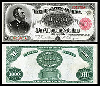 Nota do Tesouro de US $ 1.000 (1890-91), Série 1891, Fr.379c, retratando George Meade.