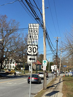Special routes of U.S. Route 30 - US 30 Alternate Truck Business In Downingtown