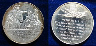Royal Proclamation of 1763 - USA Proclamation of 1763 Silver Medal. Franklin Mint Issue 1970.