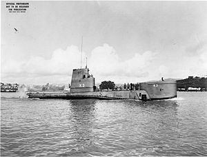 Attack submarine - USS ''K-3'' (SSK-3) with BQR-4 sonar dome