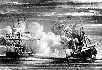 Action off Galveston Light - 19th Century print, depicting the sinking of Hatteras by CSS Alabama, off Galveston, Texas, 11 January 1863