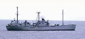 USS Jamestown (AGTR-3) - USS Jamestown (AGTR-3) under way off AnThoi, Phu Quoc Island, Vietnam, date unknown.