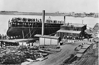 Amphitrite-class monitor - USS Monadnock prior to her launch at the Burgess shipyard, Vallejo, California, 19 September 1883. Monadnock is the only known ship to have been built by Burgess.