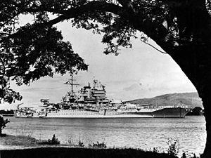 USS New Mexico (BB-40) - USS New Mexico (BB-40), c. 1935, in Pearl Harbor, Hawaii.