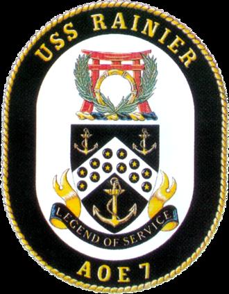 USNS Rainier (T-AOE-7) - Image: USS Rainier (AOE 7) insignia 1995