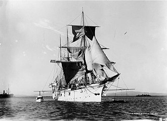 USS Nantucket (IX-18) - USS Ranger drying sails while moored off Mare Island Navy Yard, Vallejo, California, in December 1899.