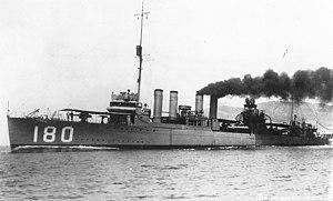 USS Stansbury (DD-180) underway off San Diego, California (USA), circa in 1920-1922 (NH 100960)
