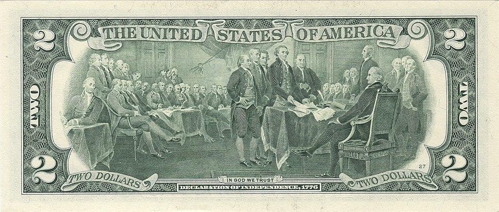 US $2 bill reverse series 2003 A