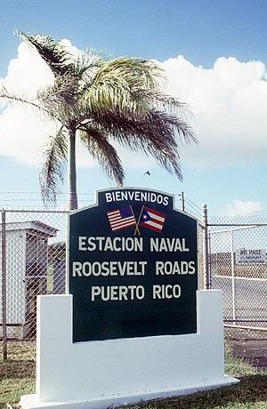 Roosevelt Roads Naval Station - US Naval Station Roosevelt Roads entrance sign 1986