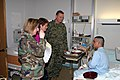 US Navy 030403-D-0000B-002 Commander, U.S. European Command, Gen. James L. Jones and his wife talk with Spc. Wilford Bolduc.jpg