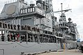 US Navy 041203-N-4397B-004 Crew members assigned to the guided missile cruiser USS Yorktown (CG 48) man the rails for the final time in preparation of the order to deman the ship as she is decommissioned on board Naval Station.jpg