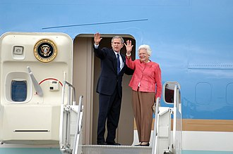 Barbara Bush - In 2001, Barbara Bush became only the second First Lady to be a mother of a U.S. president; here, she and President George W. Bush prepare to board Air Force One, 2005