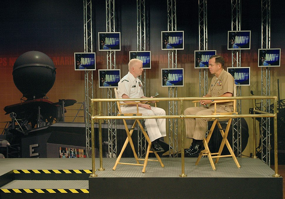 US Navy 050726-N-2383B-031 Chief of Naval Operations (CNO), Adm. Mike Mullen, is interviewed by Journalist 1st Class Tony Sisti assigned to Navy Marine Corps News (NMCN) at Naval Media Center Anacostia.jpg