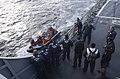 US Navy 070130-N-5459S-023 Sailors assigned to German navy destroyer Saschen (F 219) pull alongside the guided missile destroyer USS Mahan (DDG 72) in a Rigid Hull Inflatable Boat (RHIB) during a training exercise in the Atlant.jpg