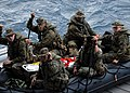 US Navy 070619-N-5067K-171 Marines from Foxtrot Company, 2nd Battalion, 1st Marines load on to their combat rubber raiding craft (CRRC) in preparation for launch from the stern gate of amphibious transport dock USS Juneau (LPD.jpg