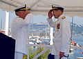 US Navy 070719-N-6544L-001 Rear Adm. Michael R. Groothousen relieves Rear Adm. Noel G. Preston as commander of Navy Region Europe and Maritime Air Naples during the change of command ceremony.jpg