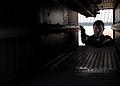 US Navy 070813-N-7981E-324 Fire Controlman Seaman Daniel Logan performs a post-fire inspection of NATO Sea Sparrow launcher aboard Nimitz-class aircraft carrier USS Abraham Lincoln (CVN 72) following a stream raid shoot exercis.jpg