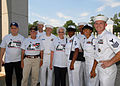 US Navy 070905-N-4459K-071 Chief petty officers selectees from Precommissioning Unit (PCU) George H.W. Bush (CVN 77) pose for a photo with World War II veterans during a visit to the National World War II Memorial.jpg