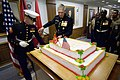 US Navy 071108-N-5549O-060 Commandant of the Marine Corps, Gen. James T. Conway cuts the first slice of cake during a ceremony in celebration of the 232nd Marine Corps birthday held at the Pentagon.jpg