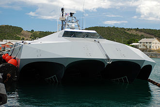 Pentamaran - All five hulls are visible in this picture of the bow of M80 Stiletto, a US Navy demonstration ship.