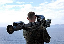 US Navy 081101-N-4774B-237 A Marine aims a Stinger missile launcher during a strait transit exercise.jpg