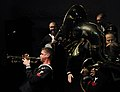 US Navy 100509-N-5716H-492 usician 2nd Class Collin Reichow holds a long note during a combined performance with members of the Pacific Brass Orchestra, a Russian military ensemble, in Vladivostok, Russia.jpg
