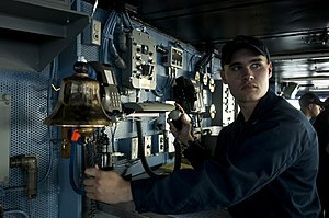 US Navy 111212-N-TZ605-208 Boatswain's Mate 3rd Class Daniel Dulin, assigned to the deck department aboard the Nimitz-class aircraft carrier USS C.jpg