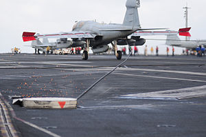 US Navy 111231-N-GZ832-487 An EA-6B Prowler assigned to Electronic Attack Squadron (VAQ) 134 makes an arrested landing aboard the Nimitz-class airc.jpg