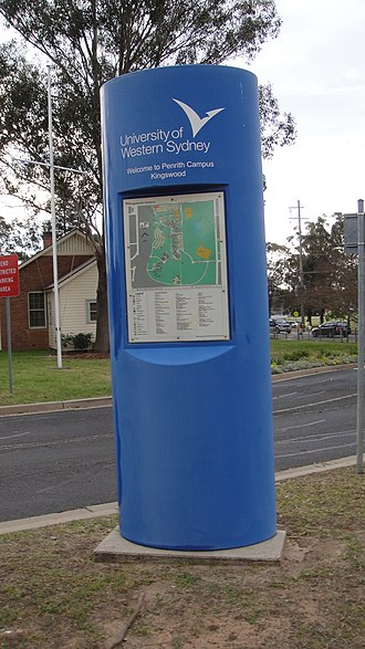 Kingswood, New South Wales - An information panel welcoming students to the University of Western Sydney's Kingswood campus.