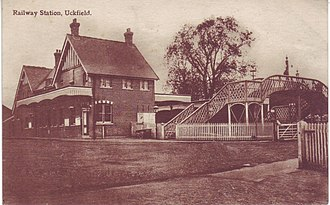 Uckfield railway station - A postcard of the original station in the 1920s