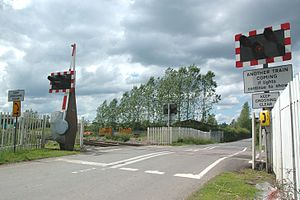 Ufton Nervet rail crash - View of the level crossing from the south-east