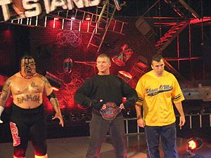 One Night Stand (2007) - Umaga (left), Shane McMahon (right), and ECW World Champion Vince McMahon making their way to the ring