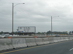 """Uncle Sam billboard - The billboard, which reads """"In the race for president can I just vote no?"""" (pictured in October 2007)"""