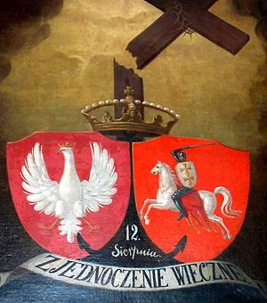 "Polish–Lithuanian union - Painting commemorating Polish–Lithuanian union; ca. 1861. The motto reads ""Eternal union""."