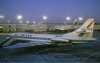 History of United Airlines - United Sud Aviation Caravelle in 1965