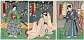 Utagawa Kunisada II - Actors Bandô Mitsugorô VI as Shirai Gonpachi, Sawamura Tanosuke III as Gonza's Younger Sister Yaeume, and Kawarazaki Gonjûrô I as Sasano Gonza.jpg