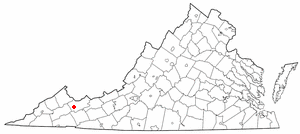 Claypool Hill, Virginia - Image: VA Map doton Claypool Hill