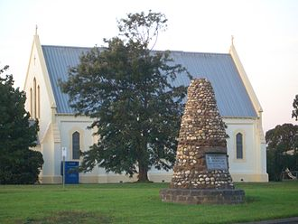 Stratford, Victoria - A church and a memorial to Angus McMillan