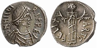 Hilderic - A coin struck in Hilderic's name (Hildirix) and bearing his effigy.