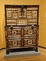 Vargueño on a Taquillon Base, unknown maker, Spain, 17th century, walnut with wrought iron appliques and bone inlay - Museum of Fine Arts, Springfield, MA - DSC04050.JPG