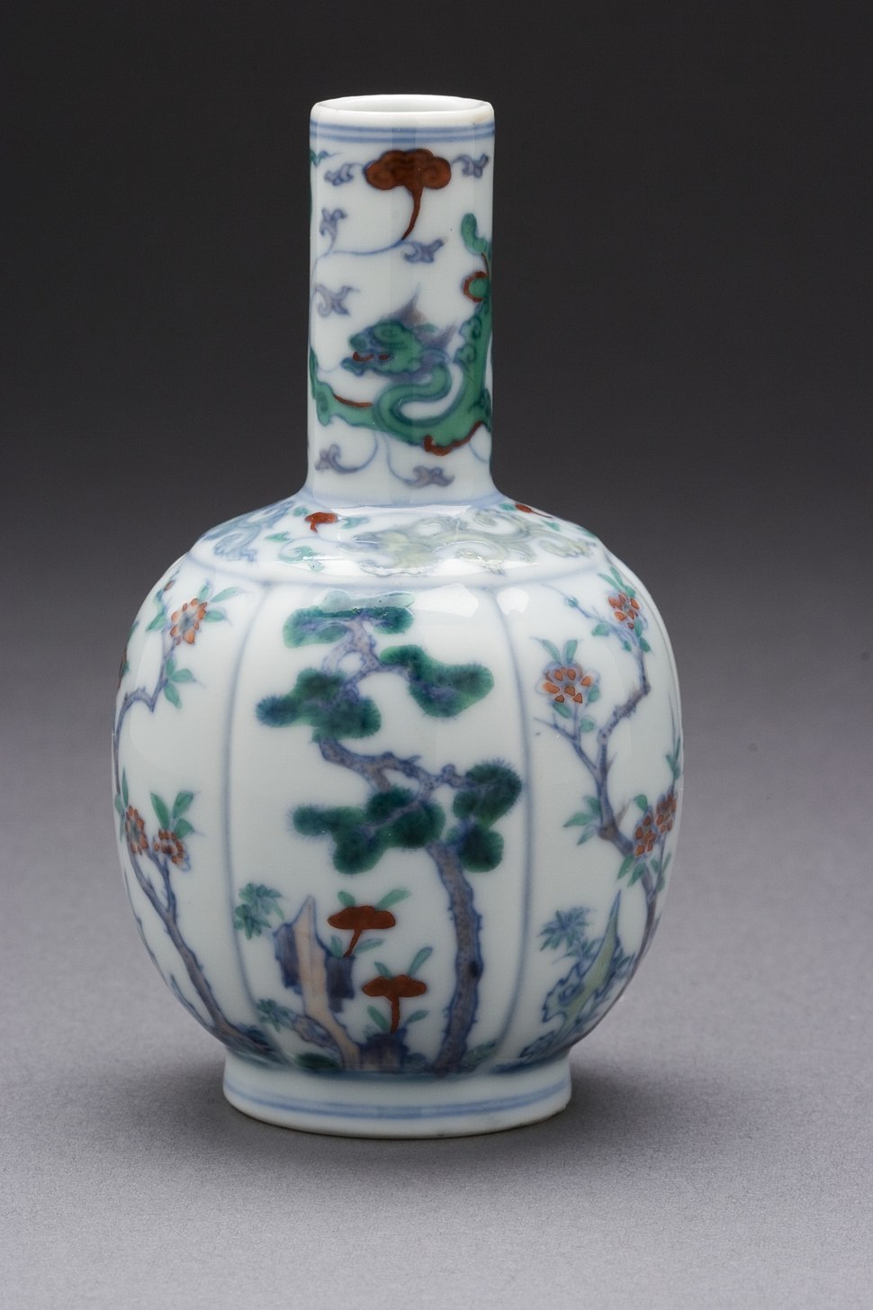 Vase (Ping) in the Form of a Mellon with Pine, Bamboo, Plum, Camellia, and Dragon LACMA M.71.65.8