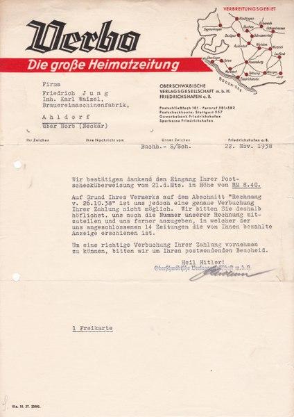 File:Verbo (Oberschwäbische Verlagsgesellschaft m.bH.) - Vorläufer Schwäbische Zeitung - Friedrichshafen.tif