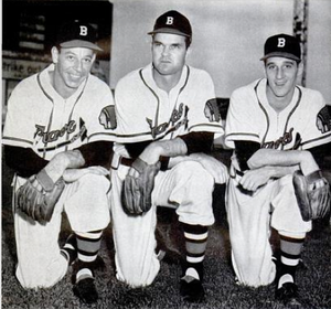 Vern Bickford - Bickford (left) with Johnny Sain and Warren Spahn