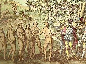 Amerigo Vespucci - Vespucci's first encounter with Native Americans in Honduras, 1497 (De Bry's  illustration, c.1592)